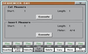 Pagina Cut Insert della funzione Song Edit nel sequencer Korg