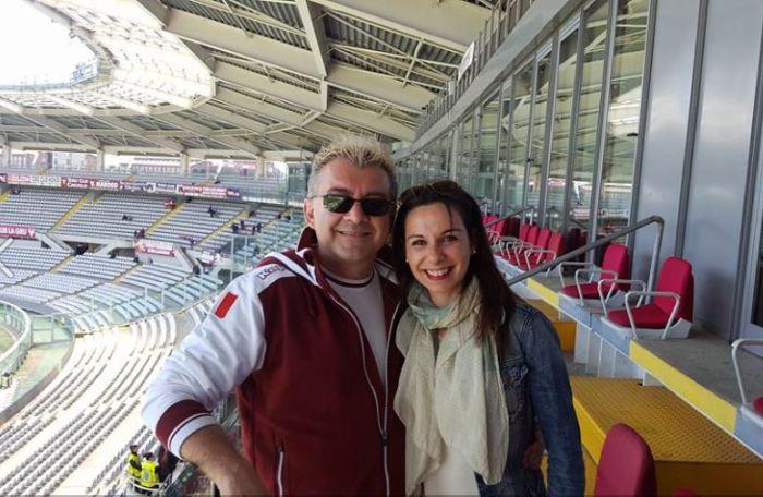 Max e Paola, prima dell'intervista e prima della partita allo stadio Grande Torino